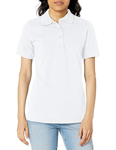 Hanes womens X-Temp Performance Polo Shirt,White,Large