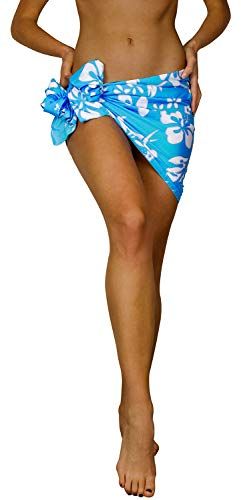 Funky Hawaiian Cover-up Pareo Sarong, Hibiscus, Turquoise, Small