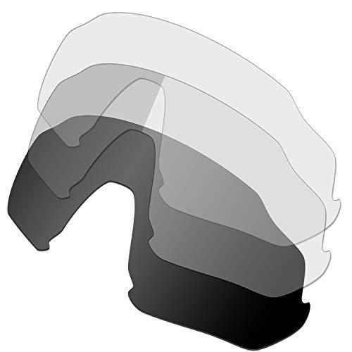 HKUCO Renforcer Rechange Lentille Pour Oakley Flight Jacket Lunettes de soleil Noir/Transparent/Photochromique Polarisé