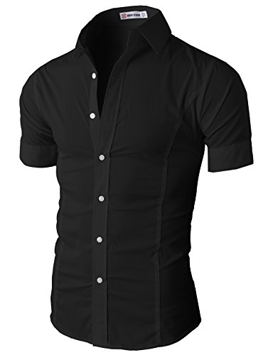 H2H Mens Fashionable Casual/Dress Basic Designed Button Closure Slim Fit Shirts BLACK US XL/Asia XXL (JASK36)