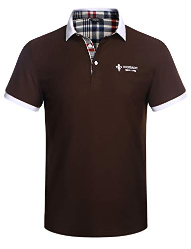 COOFANDY Poloshirt Herren Kurzarm Polo Shirt Polohemd T-Shirt Shirt mit Polokragen Sports Dunkel Kaffee XXL