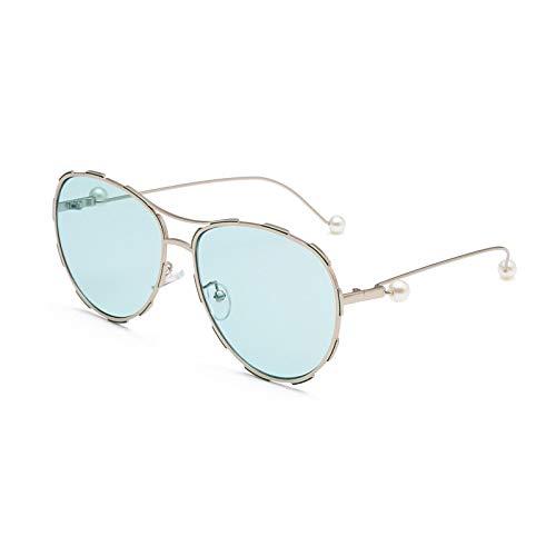 Vibner Gafas de Sol Señoras Gafas De Sol De Metal Perlado Hombres Mujeres Conductor Universal Lente Oceánica Seguridad En La Conducción Marca De Moda Clásica Gafas De Sol Exageradas C1