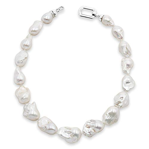 Damen Perlenkette Strang Süßwasser Zuchtperlen XL 45 cm lang in AA und AAA Qualität von Secret & You | Große Barockperlen 13-15 bis 14-16 mm Single Knotted pearls