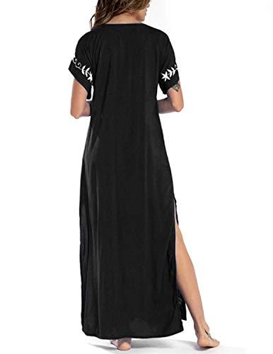 JENJON Mujeres Vestido de Playa Kaftan Floral Bordado Bohemia Tamaño Largo Cover Ups para Bikini A-Negro Talla única