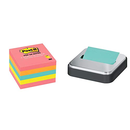 Post-it Pop-up Notes, 3x3 in, 5 Pads, Assorted Colors, Clean Removal, Recyclable (3301-5AN) & Dispenser Sticky Dispenser, 3x3 in, Black & Silver, Easy One Handed Dispensing (STL-330-B)