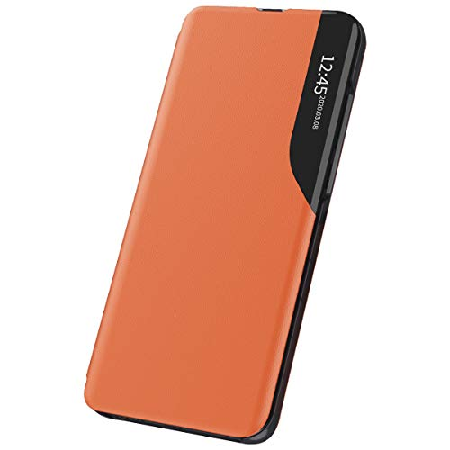 Xeber Funda para Samsung Galaxy A12, funda de piel con tapa, para ventana transparente, funda con función atril, color naranja