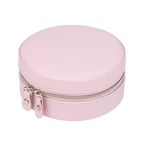 YHWLKK El más Reciente Caja de joyería, Cuero de imitación Viaje Joyero 2 Capas de Caja de la Pantalla del Organizador del almacenaje con Espejo Caja de Regalo de pequeño tamaño (Color : Naked Pink)