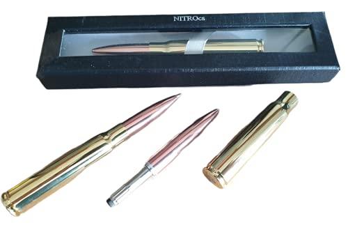 NITROcs Bolígrafo de punta redonda de calibre espacial 338, de latón estable, munición de supervivencia de emergencia, incluye caja de regalo