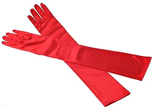 Lange Handschuhe Frau 20 Jahre - elegant - einfach - Satin - Stretch - rote Farbe - Weihnachts- und Geburtstagsgeschenkidee