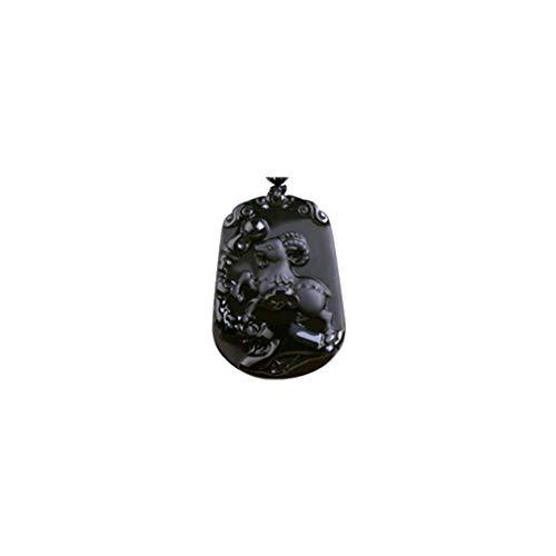 Gmgod❤️❤️Necklace,Pure Natural Zodiac Necklace Pendant Made of Obsidian Gemstone Horoscope Animal Sign Amulet (C) Black