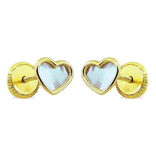 Pendientes de bebé Corazón con Nácar Oro Amarillo 18 Kt / 750 Mls 5x4 Mm Cierre Tornillo