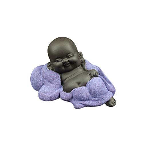 EXCEART Mini Ceramic Buddha Statue Monk Tea Pet Miniature Buddha Figurine Chinese Style Table Decoration Ornament for Home Office (A Purple Statue)