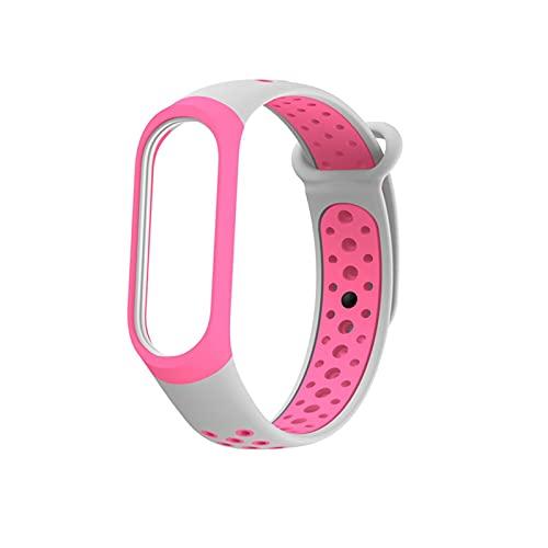 Compatible con MI BAND 3 4 / MI BAND 5 6 BAND, SILICONO Colorido Reemplazo de la pulsera de correa original, correa de muñeca ajustable de puerto (Color : Gray Pink, Size : For mi band 4)