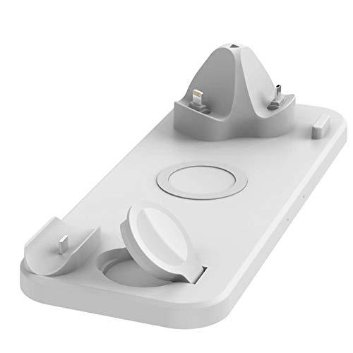 LAHappy Cargador Inalámbrico Rápido 3 en 1 10W Estación de Carga Rápida Qi Inalámbrica para iPhone 12 Pro MAX/Mini/ 11/ XS/X/XR/ 8 Plus Samsung S21/S20/Note 20 Apple Watch AirPods,Blanco