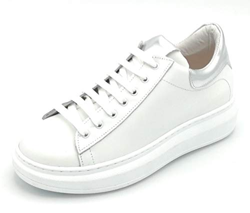 Ovye NI2547 Sneaker Leder Weiß Rand Silber W - Schuhgröße 38 EU Farbe Weiß-Silber