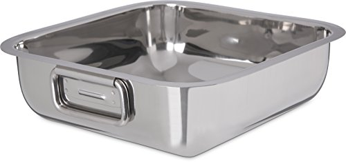 Buy Carlisle 609084 Stainless Steel Square Display Dish with Handles, 3.1 Quarts (Pack of 12)