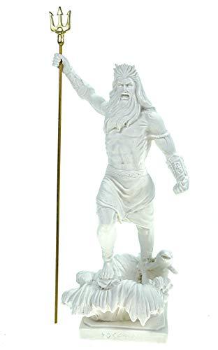 Kremers Schatzkiste Alabaster Figur Poseidon mit Dreizack Gott des Meeres 22 cm weiß Glück Meer