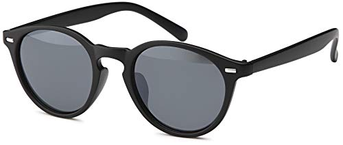 Balinco Runde Vintage Sonnenbrille im angesagten Unisex Rund für Herren & Damen - Retro Brille (Schwarz-Matt)