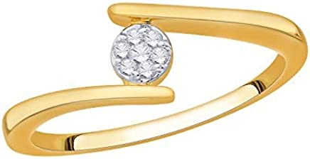 IGI Certified Round Diamond Accent Flower Cluster Bypass Engagement Promise Ring 10k Solid Gold (0.06 Cttw)