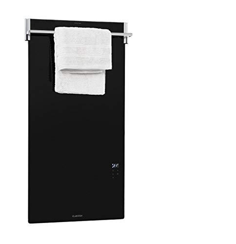 Klarstein Hot Spot Crystal Spotless Smart - Calefactor infrarrojo, 59 x 112 cm, 750 W, IR ComfortHeat, Control por app a través del wifi, Instalación en pared, Barra para toallas abatible, Negro