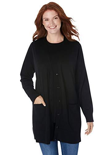 Woman Within Women's Plus Size The Cotton Perfect Boyfriend Cardigan Sweater - 5X, Black