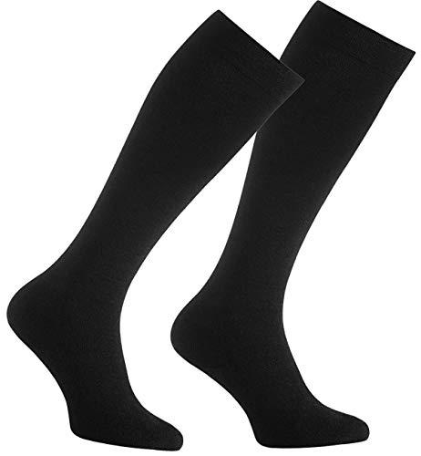 Kvinnor och män resor knästrumpor (2 par) med kompressionseffekt svarta stödknästrumpor kompressionsstrumpor långa strumpor | Knästrumpor idealiska för resor