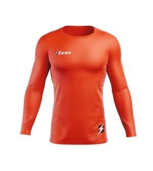 Zeus Maglia Termica FISIKO Manica Lunga Sport T-Shirt Unisex Uomo Donna Bambino (L, Arancio Fluo)