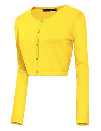 Urban CoCo Women's Button Down Crew Neck Cropped Cardigan Lightweight Shrug Kint Sweater (S, Lemon Yellow)