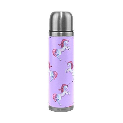 Ffy Go Travel Mug, Licorne Impression personnalisé Thermos en acier inoxydable LeakProof Thermos isotherme extérieur Cuir pour filles garçons Violet 500 ml