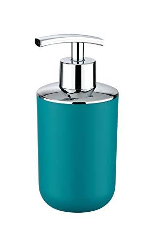 Wenko Seifenspender Brasil, nachfüllbarer Seifendosierer für Badezimmer und Küche, aus bruchsicherem Kunststoff, Fassungsvermögen: 320 ml, 7,3 x 16,5 x 9 cm, petrol