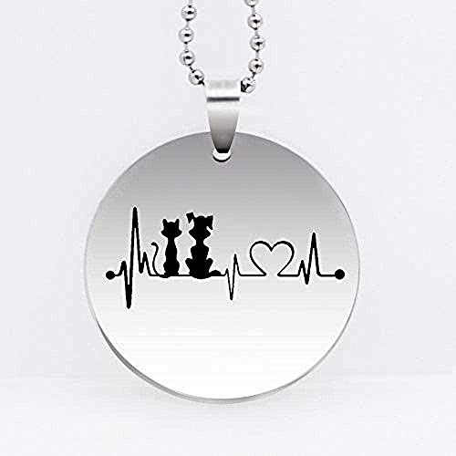 ZPPYMXGZ Co.,ltd Necklace Fashion Stainless Steel Dog Cat Heartbeat Pendant Necklace Fashion Cartoon Necklace Animal Jewelry Gift Drop Shipping