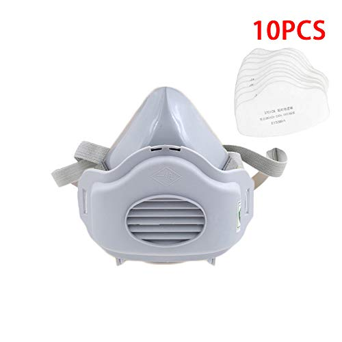 Dust Half Respirator with Replaceable and Reusable Filters Included, Pack of 1 with 10 Filters