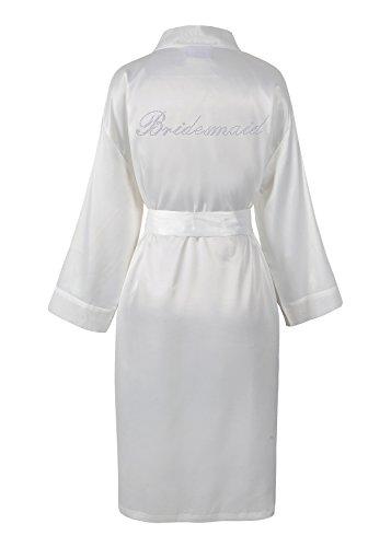 Varsany - Bata de baño para dama de boda, personalizada, de forro polar y satén con pedredía, kimono, bata de baño personalizada blanco crema
