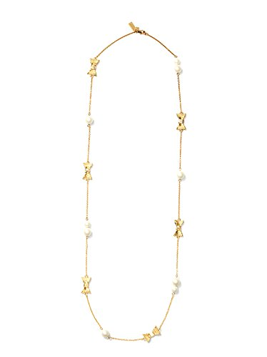 Kate Spade New York Long Chain Necklace Pearls Bow Scatter, Cream Gold (Pearl Bow)
