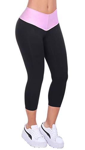 Bon Bon Up Black & Light Pink Capri Legging Women's Leggings with Internal Body Shaper -Butt Lifter