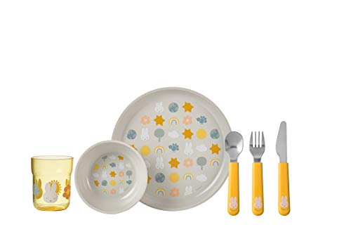 Mepal Mio Miffy explore - Juego de vajilla para niños, 6 piezas, incluye plato, cuenco, taza y cubiertos, regalo ideal para niños, apto para lavavajillas