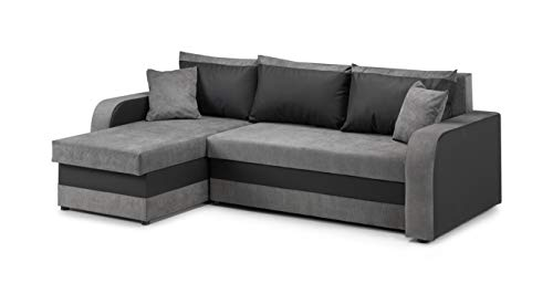 Honeypot - Sofa - Kris Universal - Sofa Bed - Faux Leather/Fabric (Black/Grey)
