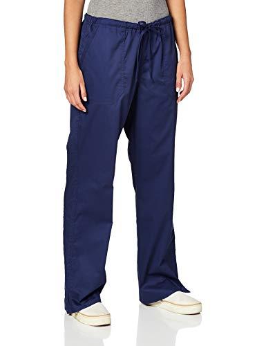 Cherokee Workwear Core Stretch Mid Rise Straight Leg Drawstring Scrub Pant, M Petite, Navy