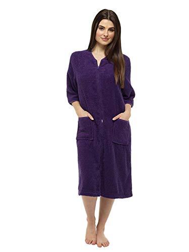 CityComfort® Toalla para mujer Botón o toalla de baño con cremallera para mujer - Albornoz grande con toalla (S, color morado oscuro)
