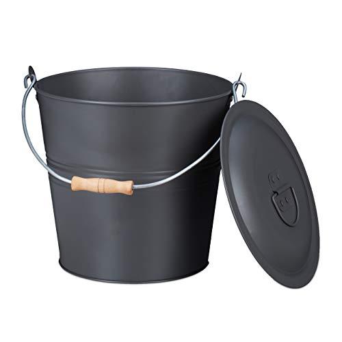Relaxdays Ascheeimer mit Deckel, 12 Liter, Aschetonne mit Tragegriff, für Kohle & Asche, rund, Kamin, Ofen & Grill, grau