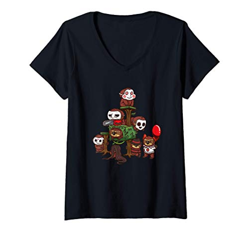 Mujer Perezosos Disfraz de Halloween Regalo Película de Terror Camiseta Cuello V