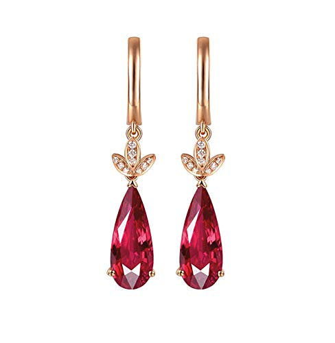 ANAZOZ 18K Oro Rosa Pendientes de Mujer Oro Rosa Pendientes de Mujer Gota de Agua con Hojas Turmalina Roja Blanca 4.2ct