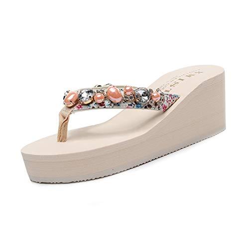 MISTU Women's Wedge High Heel Flipflop Sandals Boho Rhinestone Summer Nonslip Platform Beach Thong Sandal