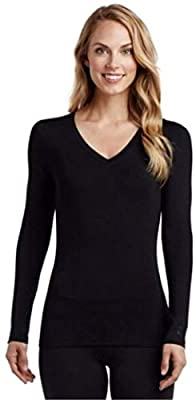 Cuddl Duds Softwear with Stretch Long Sleeve V-Neck Top for Women (Black) (Extra Large)
