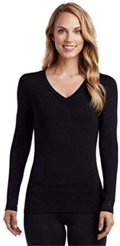 Cuddl Duds Softwear with Stretch Long Sleeve V-Neck Top for Women (Black) (Large)