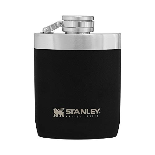 Stanley Master Hip Flask 8oz with Integrated Steel Cap, Wide Mouth 1.0mm Stainless Steel Hip Flask for Easy Filling & Pouring, Insulated Flask with Never-Lose Leak Proof Cap for Camping or Daily Use