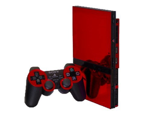 Red Chrome Mirror Vinyl Decal Faceplate Mod Skin Kit for Sony PlayStation 2 Slim (PS2 Slim) Console by System Skins