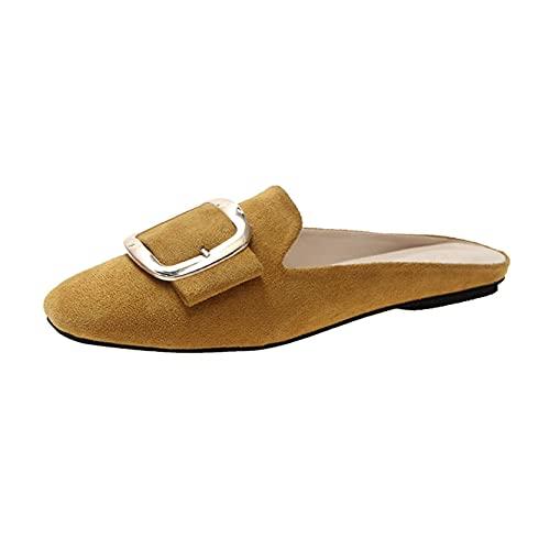 Zapatos de mulas para mujer, ligeros, con hebilla cuadrada, sin cordones, a la moda, holgazanes, sandalias, Amarillo, 37 EU