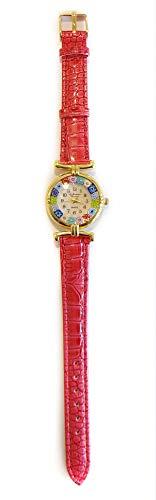 VENEZIA CLASSICA - Orologio da Donna con Murrine Millefiori multicolori in Vetro di Murano Originale, cinturino in ecopelle (rosso)