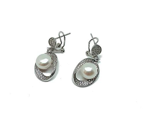 Pendientes de plata 925 fantasía circonitas y perla auténtica, cierre omega (AMFO0273)